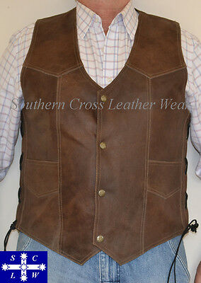 Dark Brown Distressed Motorcycle Leather Vest Size M-7XL