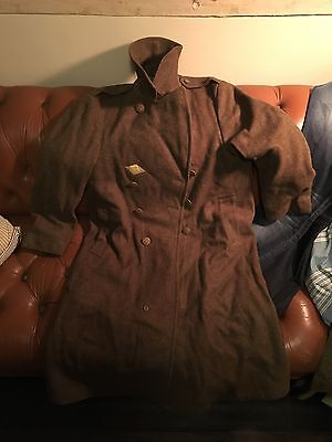 1942 WW2 OD 38R M-L wool overcoat with roll collar INSIGNIA MINT