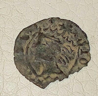 Spanish medieval king Juan ll face and lion very old coin