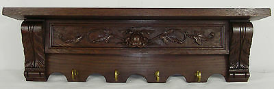 Antique Oak Rack Carved Wood Oak Wood pediment