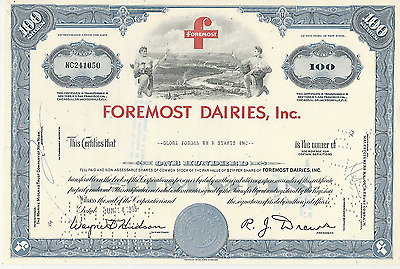 1965 FOREMOST DAIRIES INC now McKesson stock certificate *pays cancer bills