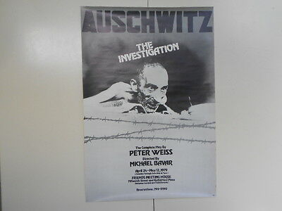 """Org Off  Broadway Theater Poster """"AUSCHWITZ"""" 1979 w/Signed Letter from Director"""