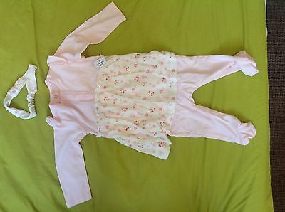New Girls Matalan baby grow with hairband, 6-9 months