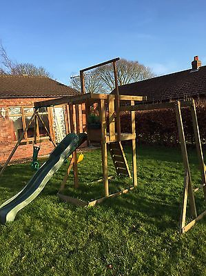 Outdoor Swing Set With Climbing Frame And Sand Pit