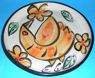 Studio Pottery - Attractive Hand Painted Bird Design Shallow Dish - Stamped DC