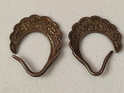 Malacca Straits Chinese Peranakan Pair Of Silver Ear Rings Late 19th Century