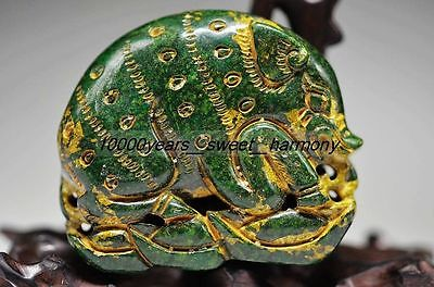 Ancient Chinese Green Old Jade Manual Carved Pig Statue G8