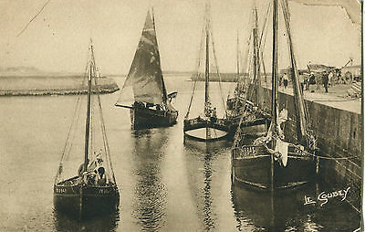1920s Postcard Fishing Boats St-Vaast le Hougue Harbour France