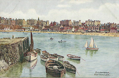 1920s Postcard Old Harbour PORT ERIN Isle of Man by A R Quinton