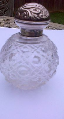 Antique Victorian  Sterling Silver Topped Hobnail Cut Perfume Bottle