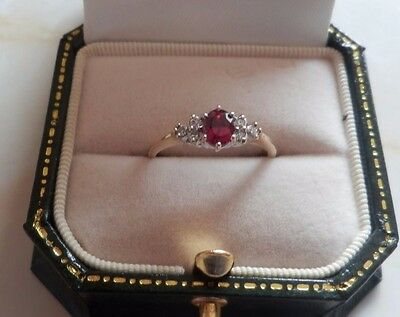ernest jones 9 ct yellow and white gold ruby and diamond ring