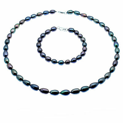 Black Pearl Jewellery Set Necklace & Bracelet Oval Pearls Sterling Silver Boxed