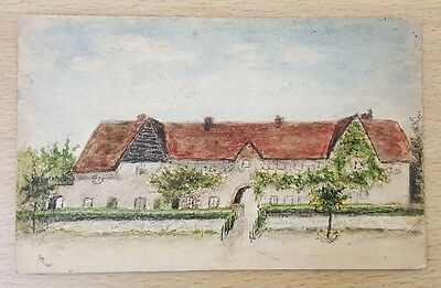 Victorian Hand Painted Postcard of Villa, Undivided Back