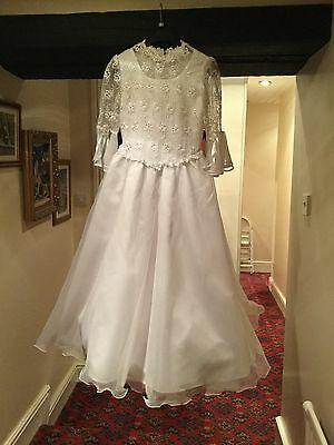 VINTAGE 1950's STYLE WHITE WEDDING DRESS - SIZE 8 APPROX