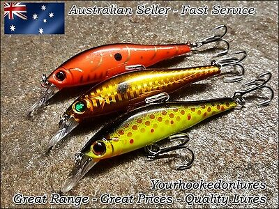 3 x Deep Diving Lures Redfin, Yellowbelly, Trout, Flathead, Cod, Perch, Bream