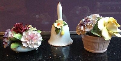 Vintage Bone China Flower Posy Baskets And Bell