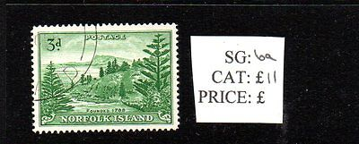 Norfolk Island - 3d green SG6a used postage stamp