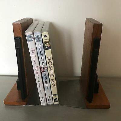 Art Deco Skyline 1930s? Solid Wooden Bookends Vintage Retro