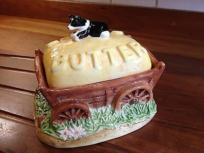 Border Fine Arts / James Herriot; Hay Wagon with Border Collie Butter Dish