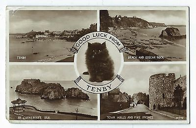 Vintage Postcard : Good Luck from TENBY Multiview RP 1938 Pembrokeshire