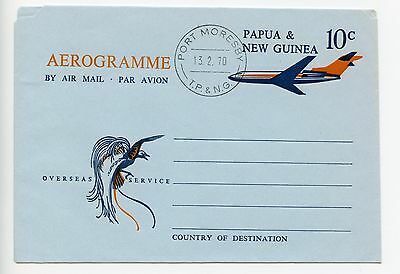 Papua New Guinea stationery aerogramme used 1970 (H366)