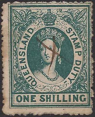 QUEENSLAND 1866-68 POSTAL FISCAL No Wmk 1/- Green ACSC F3 cv$125 fine used mss