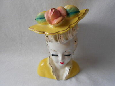 Vintage Royal Sealy Lady Head Vase Yellow Hat Pink Rose USED