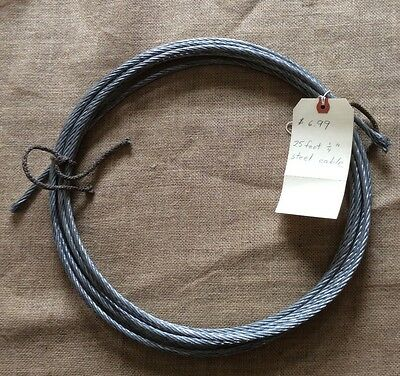 25' Feet Stainless Steel Cable Wire Rope 1/4""