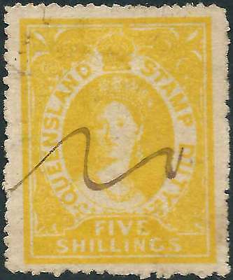 QUEENSLAND 1866-68 POSTAL FISCAL No Wmk 5/- Yellow ACSC F6 cv$675 fine used mss