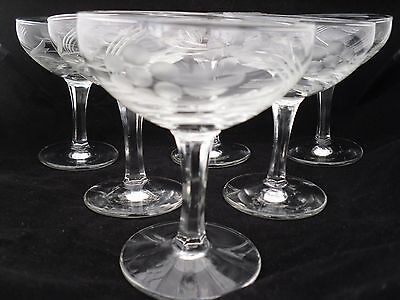 Set Of Six Vintage Champagne Glasses With Opaque Flower And Leaf Etching