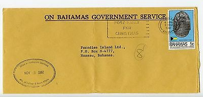 Bahamas cover used Nassau Ministry of Labour official 1982 (J911)