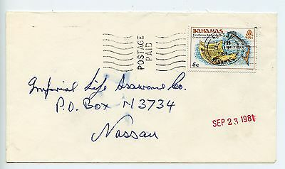 Bahamas cover used Nassau Postage Paid cancel on franked cover 1984 (L539)