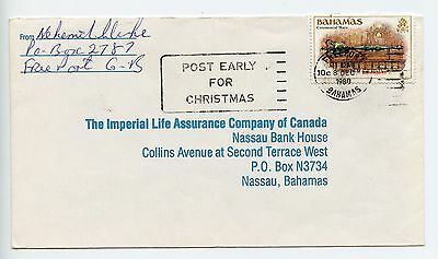 Bahamas cover used Freeport Post Early for Christmas slogan 1989 (L361)
