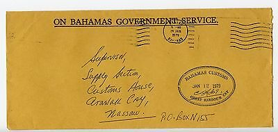 Bahamas cover used Nassau Great Harbour Cay Customs official 1979 (L544)
