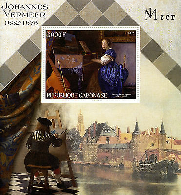 Gabon 2016 MNH Johannes Vermeer 1v S/S Art Paintings Stamps
