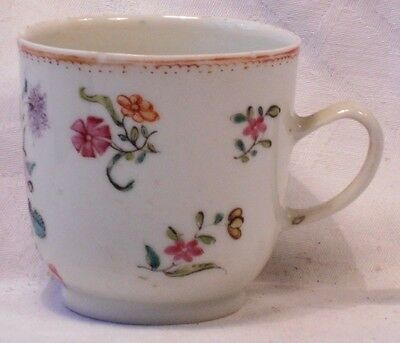 C18Th Chinese Hand Painted Famille Rose Floral Cup