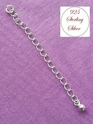 """1, 2 or 5pcs SOLID 925 STERLING SILVER 2"""" Extender Extension Necklace Chain - UK"""