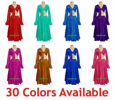 Satin Belly Dance Skirt + Top Set Tie Ruffle Dress Flamenco Tribal Full Circle