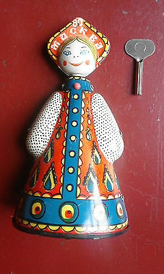 ++ Rare Vintage Russia Doll  Mechanical Wind Up Tin Toy Dancing ++