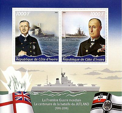 Ivory Coast 2016 MNH WWI WW1 Battle of Jutland 2v MS HMS Queen Mary Ships Stamps