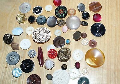 job lot of 50 vintage buttons, glass, ceramic, metal, deco, mother of pearl