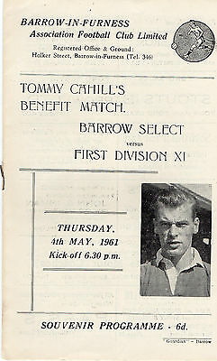 Barrow Fc V A  First Division Xi For Tommy Cahill Testimonial Programme 1961
