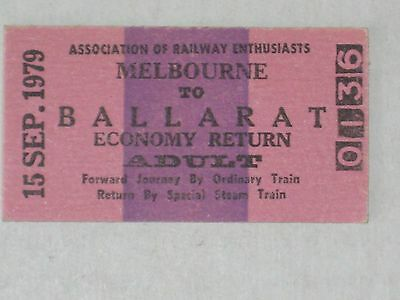 Railwayana - Railway Enthusiasts Return Ticket - Melbourne, Australia, 1979