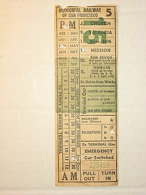 Municipal Railway of San Francisco - Ticket c. 1940/50's