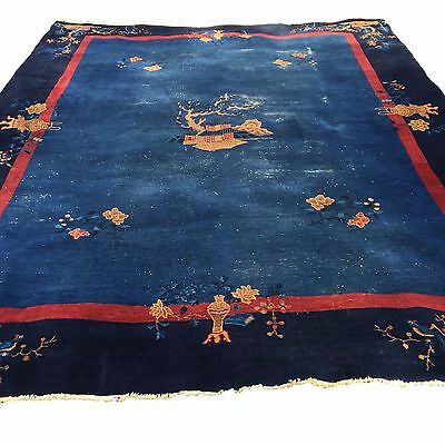 "1930s Chinese Art Deco Oriental Large Plush Rug 9' 4"" x 11' 10"" Navy Blue"