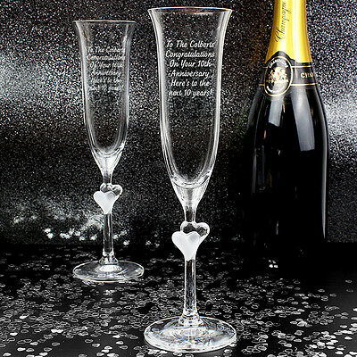 Personalised Champaign Wedding Flutes Toasting Heart Stem Anniversary Engagement