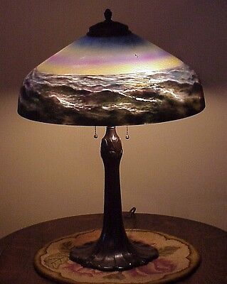 Antique Pittsburgh Reverse Painted Endless Wave Table Lamp