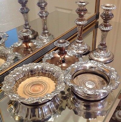 Job Lot Antique Silver Plate & Copper 2 X Wine Coasters, Pair Candlesticks Etc