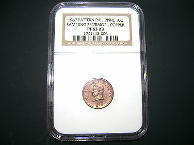 Philippines 1967 Pattern 10 Centavos NGC Proof 63 RB #1