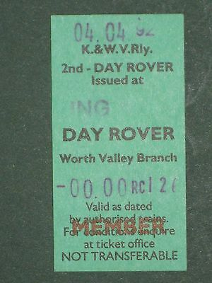 Railwayana - Keighley & Worth Valley Day Rover Ticket - Member, 1992